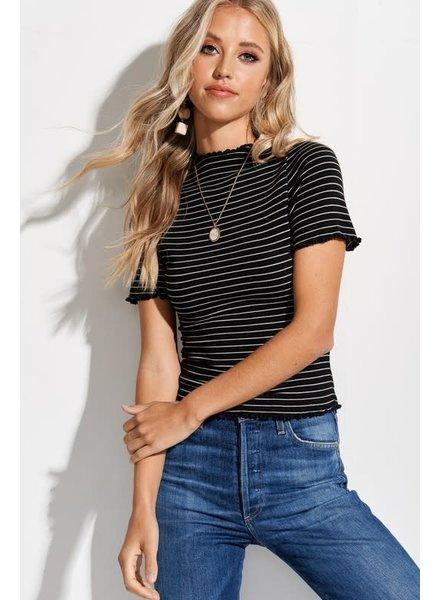 La Miel La Miel Black Striped High Neck Top
