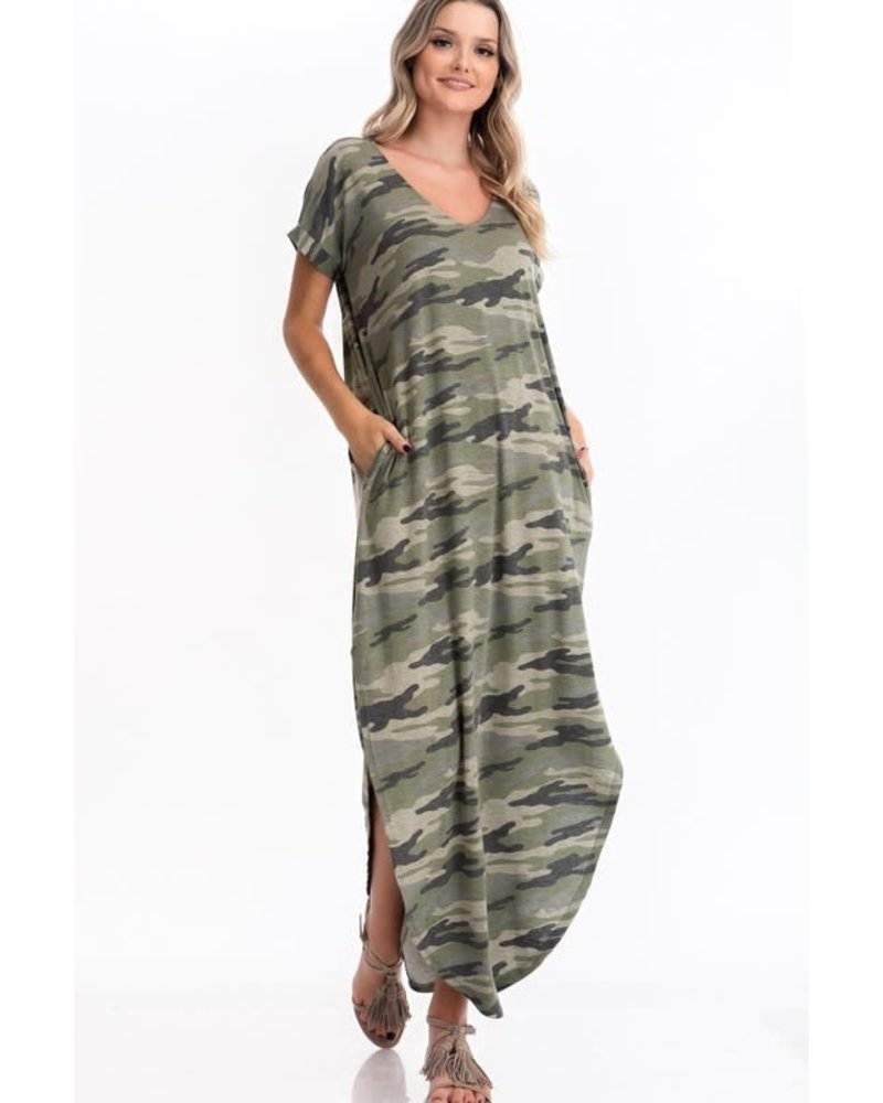 Cy Fashion CY FASHION Camo V Neck Maxi Dress