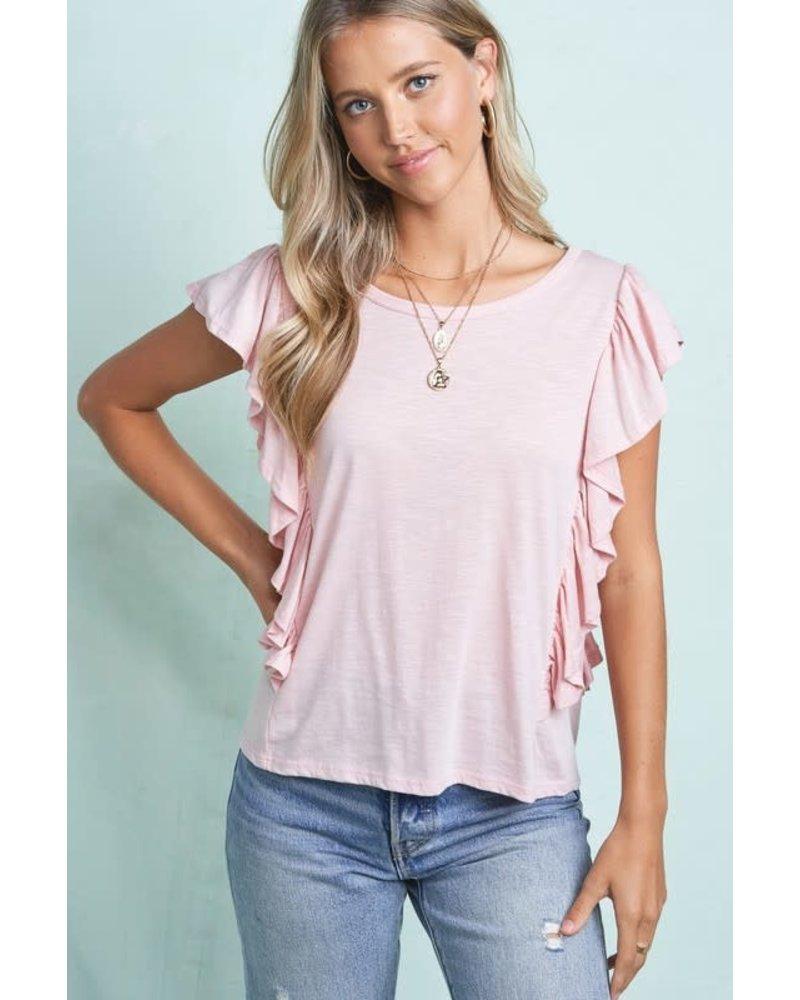 La Miel La Miel Pink Ruffle Shirt