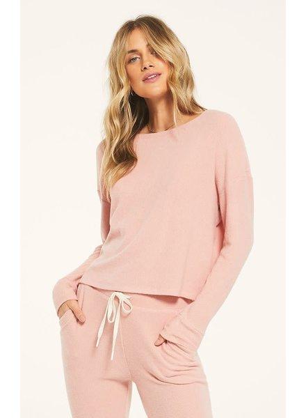 Z Supply Z LOUNGE LEILA Ribbed Sweatshirt Pink