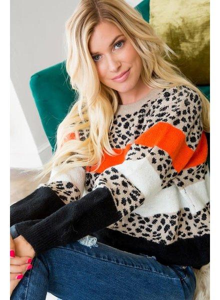 Sweet Lovely by Jen Sweet Lovely by Jen Leopard/Orange Sweater
