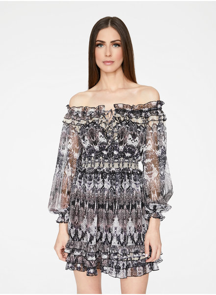 Hey You Hey You Snakeskin Off Shoulder Dress
