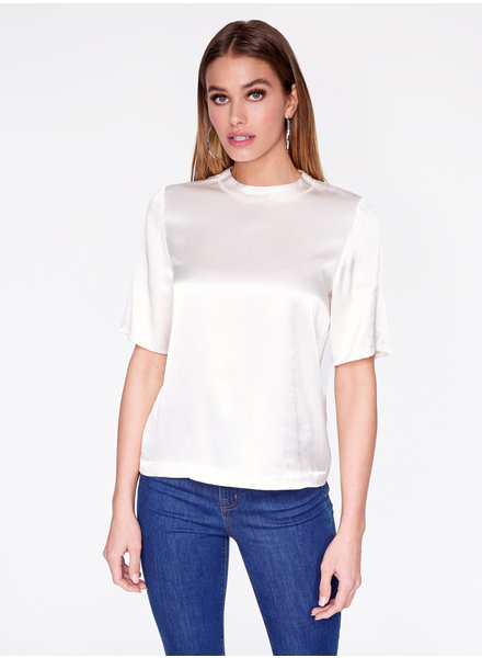 Hey You Hey You Satin High Neck Top Off White