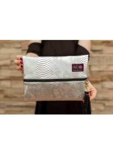 Make Up Junkie Make Up Junkie Bag Medium PLATINUM PYTHON