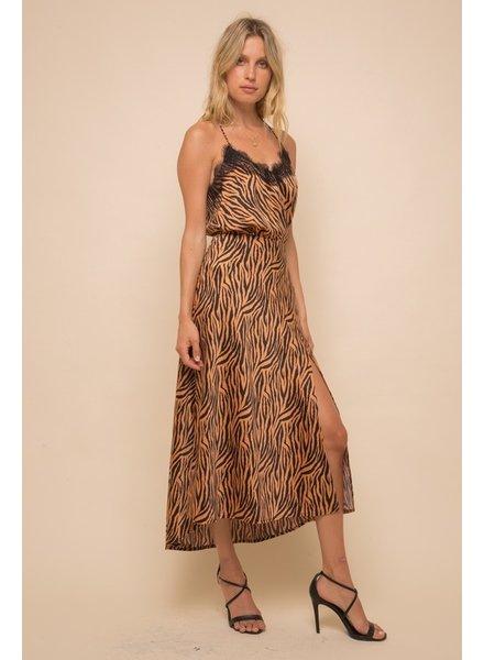 Hem & Thread Hem & Thread Satin Tiger Front Slit Midi Skirt