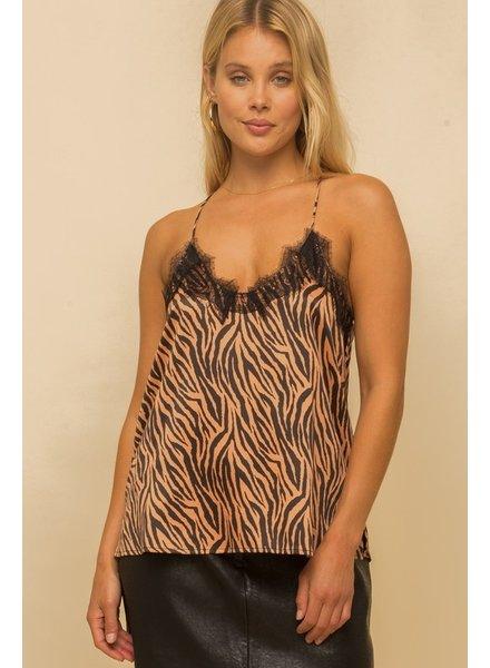 Hem & Thread Hem & Thread Satin Lace Trimmed Tiger Print Cami