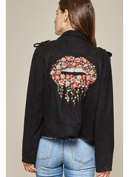 Andree Andree Black Suede Jacket with Lips Emb