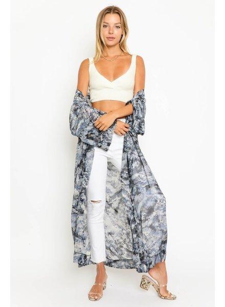 Olivaceous Olivaceous Tie Dye Blues Kimono