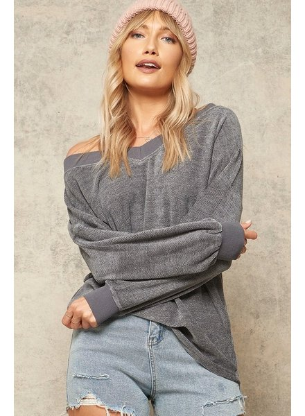 Promesa Promesa Charcoal Deep V Neck Sweater