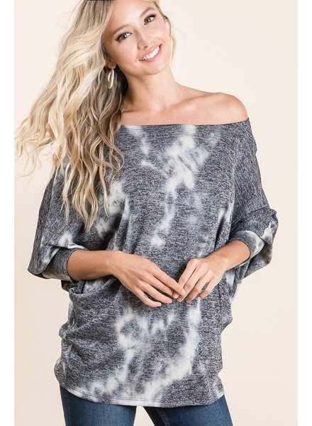 Andree Andree Snakeskin Black Mix Waffle Top