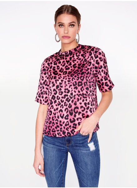 Hey You Hey You Pink Leopard Printed High Neck