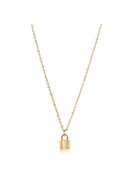 Sahira Mini Lock Necklace Gold