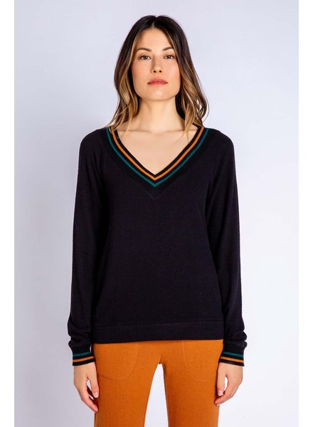 PJ Salvage PJ Salvage Ciao Black V Neck Sweater Top
