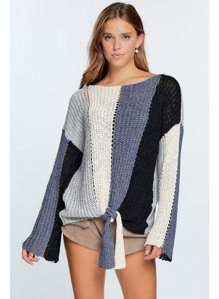 Davi & Dani Davi & Dani Black/Grey Tie Sweater