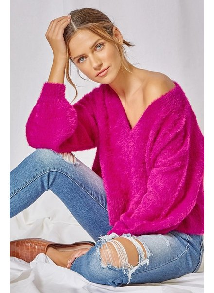 Andree Andree Fuzzy Hot Pink Sweater