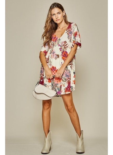 Andree Andree Multi Floral Dress Ivory