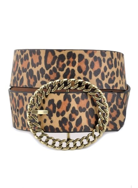 Anzell Anzell Leopard Belt with Chain Buckle
