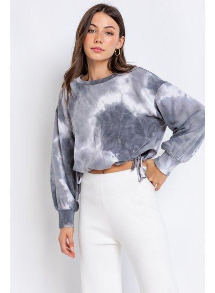 Le Lis Le Lis Grey White Tie Dye Crop Sweatshirt