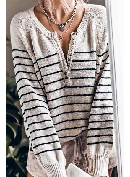 Mazik Mazik Striped Sweater with Buttons