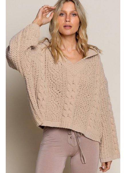 POL POL Plush Sweater Camel Brown