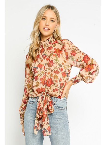 Olivaceous Olivaceous Ivory Floral High Neck Top