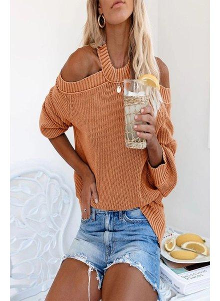 Cezele Cezele Rust Cold Shoulder Sweater