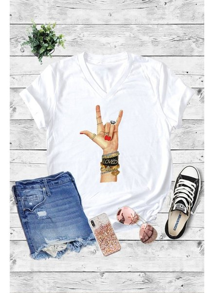 Caramela Caramelo Graphic Tee Love Jewels White
