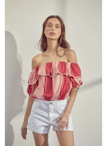 Lush Lush Pink Blush Striped Crop Off Shoulder Top