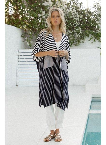 Hem & Thread Hem & Thread Black/White Striped Cardigan/Kimono