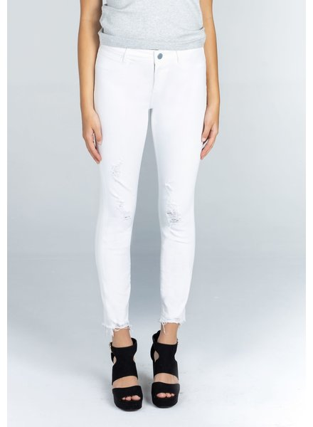 Articles of Society AOS Carly Crop Distressed White Denim