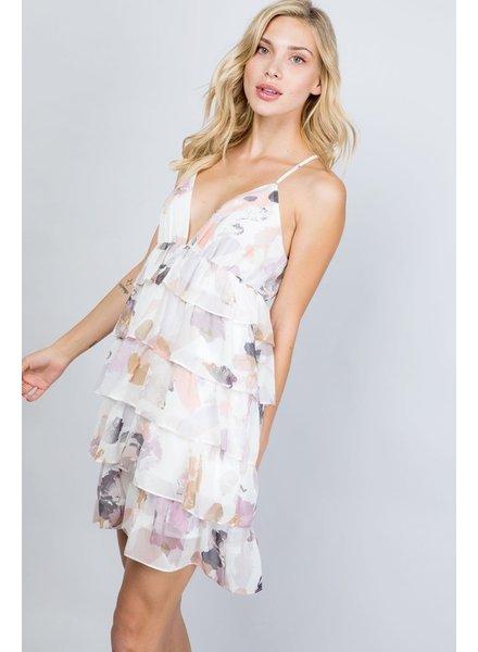 Illa Illa ILLA ILLA Tiered Mini Dress Off White Floral