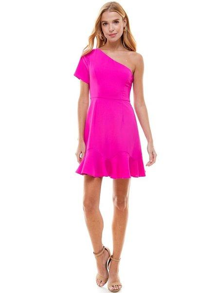 TCEC TCEC Shoulder Magenta Dress