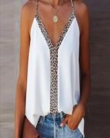 Cezele Cezele Leopard Trimmed White Cami Top