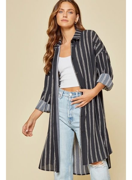 Andree Andree Black/Taupe Button Up Duster