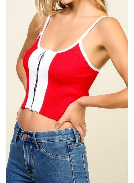 timing Timing Red Zipper Tank Sweater Top