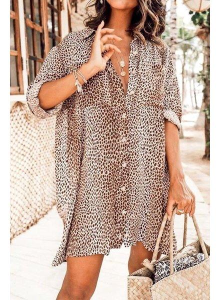 Mazik Mazik Leopard Printed Button Dress Dress