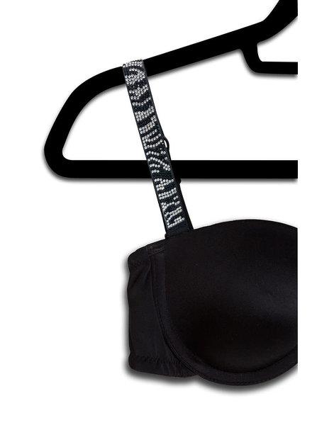 Strap Its STRAP IT Black  Bra Thin Straps Crystals