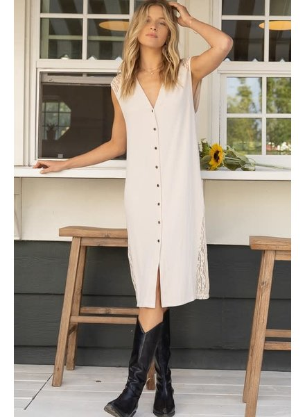 POL POL Ribbed Dress with Lace