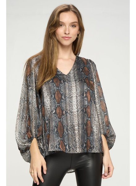 Adrienne Adrienne Bubble Sleeve V Neck Top