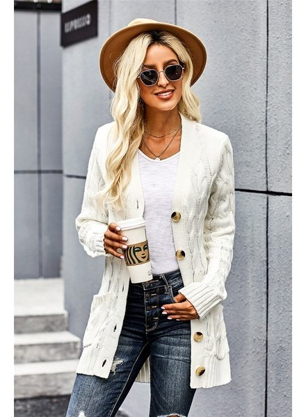 MISC Cable Knit Cardigan with Buttons
