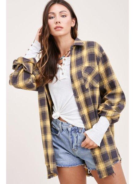 La Miel La Miel Yellow Black Flannel Top