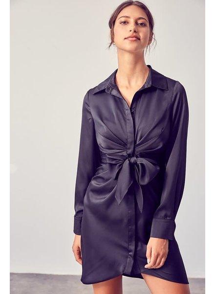 DO + BE Do + Be Black Tie Woven Silky Dress