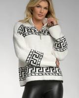 ELAN ELAN Black White Zip Sweater
