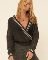 Promesa Promesa Varsity Charcoal Distressed Sweater