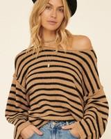 Promesa Promesa Camel Black Striped Sweater
