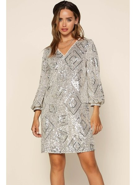 Skies Are Blue Skies Are Blue Champagne Sequin Dress