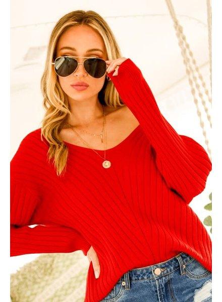 Vine & Love Vine & Love Red Sweater V Neck