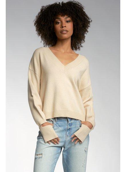 ELAN Elan Oatmeal Slit Cuff Sweater