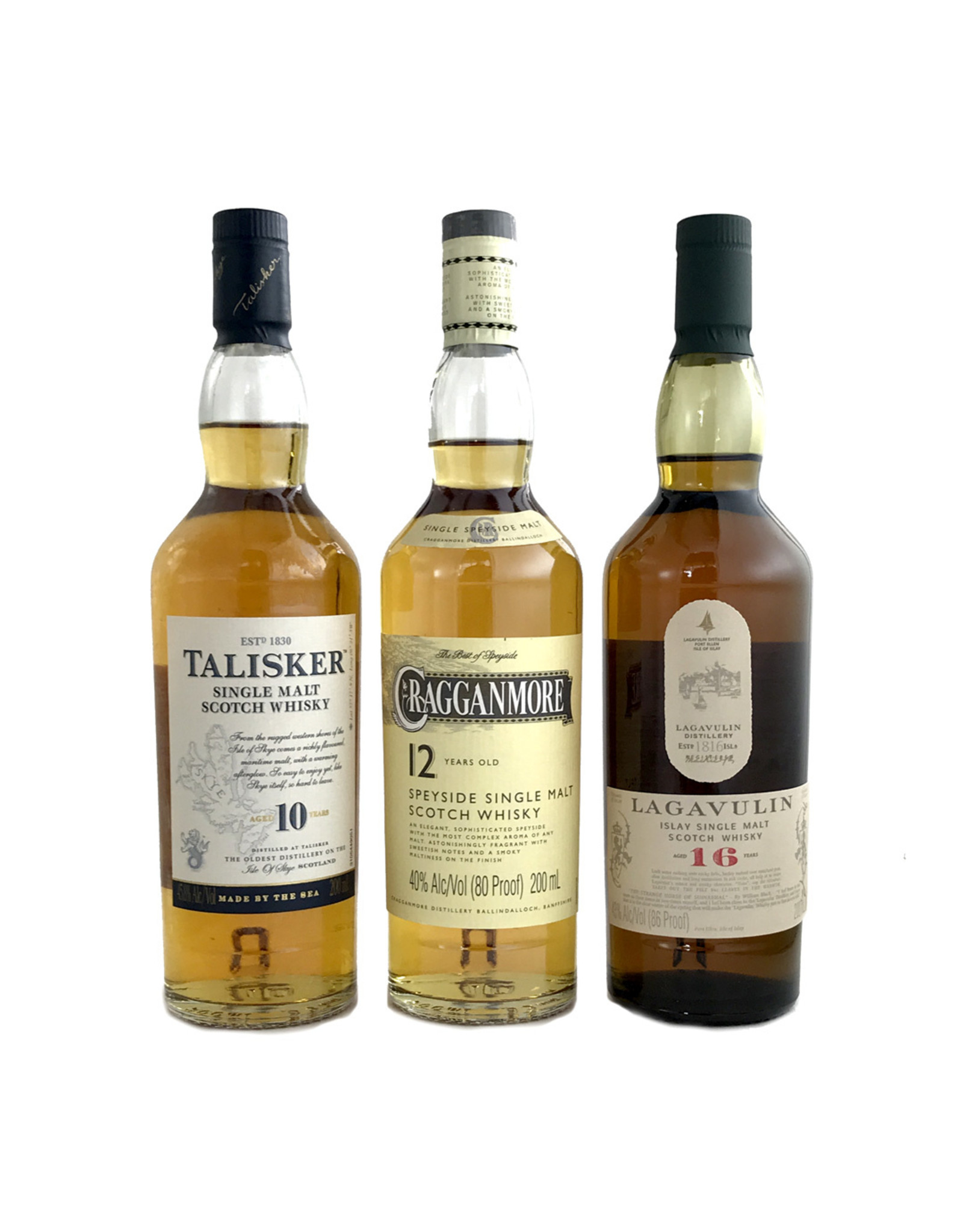 """PRIVATE EVENT -- Live Zoom Tasting:  The Classic Malts """"Strong"""" Collection - Lagavulin 16, Talisker 10, Cragganmore 12 (200ml 3pk)"""