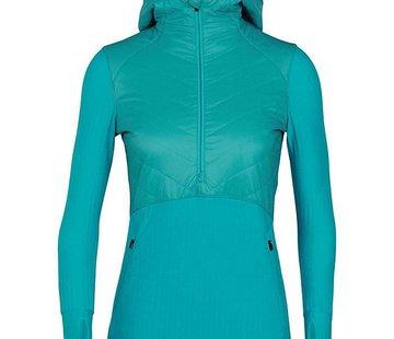Icebreaker Women's Descender Hybrid Long Sleeve Half Zip Hood